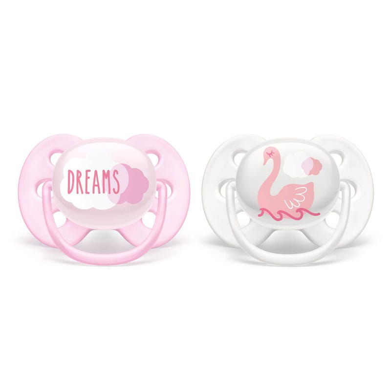 Ultra Soft Pacifier 0-6m 2-Pack - Dreams and Swan