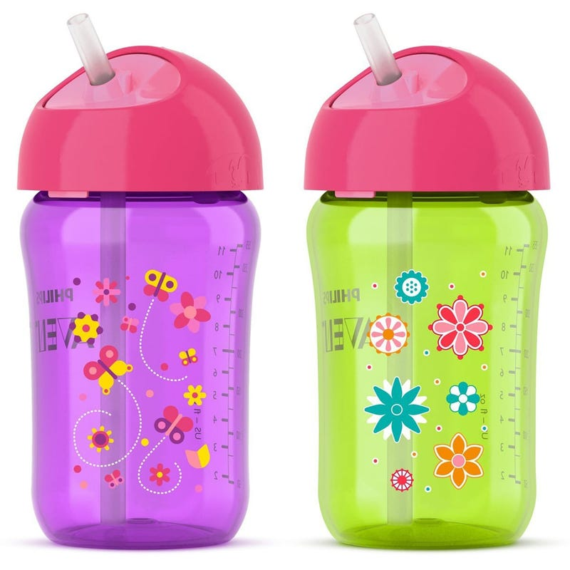 Sippy Cup With Straw 12oz - Purple/Green