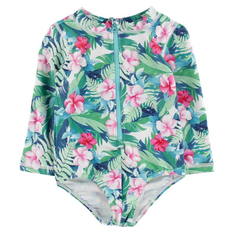 Floral UV Rashguard Swimsuit