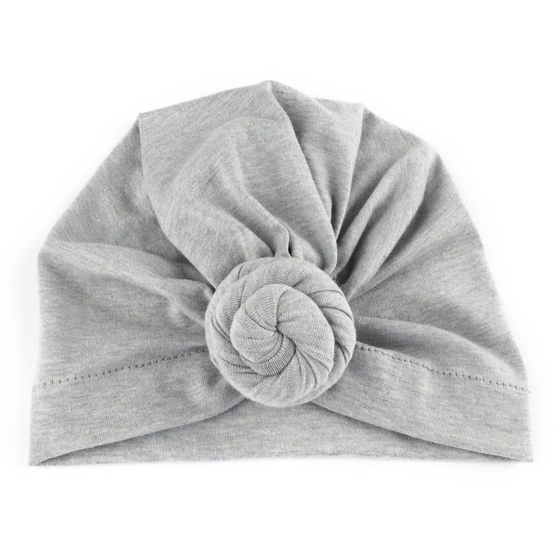 Grey turban knot hat 3m+