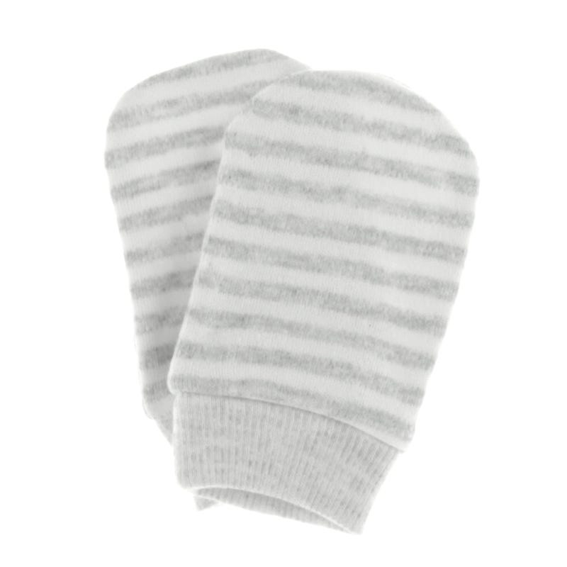 Anti-Scratch Mitts 0-3m - Gray Stripes