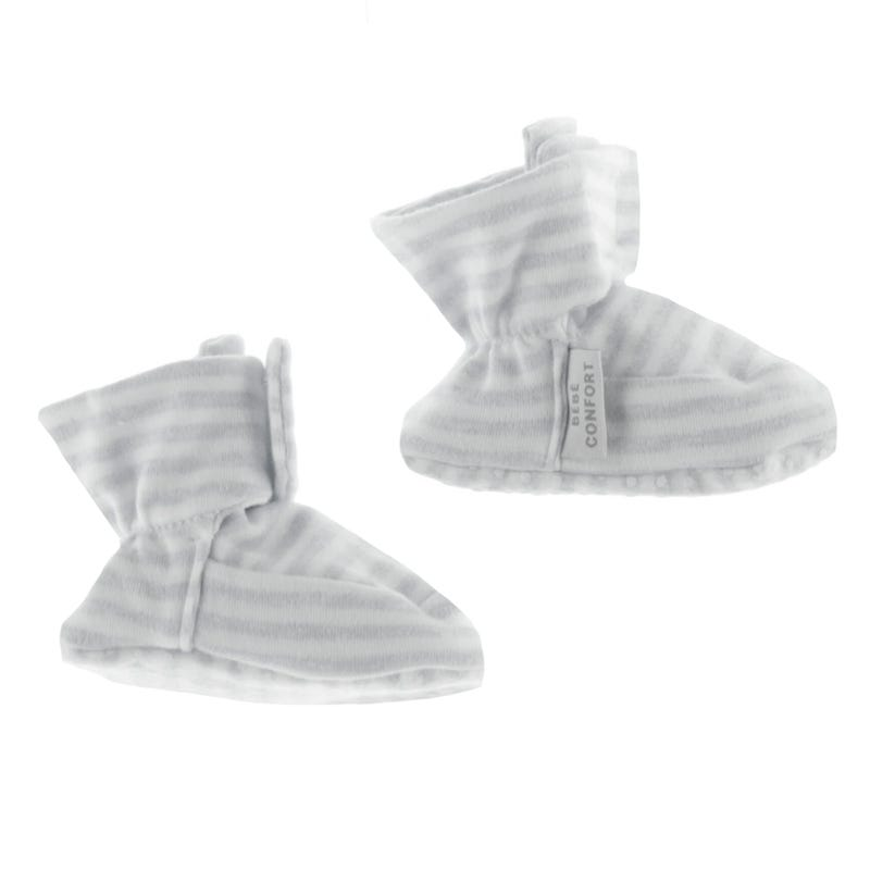Baby Slippers 0-24m - Gray Stripes