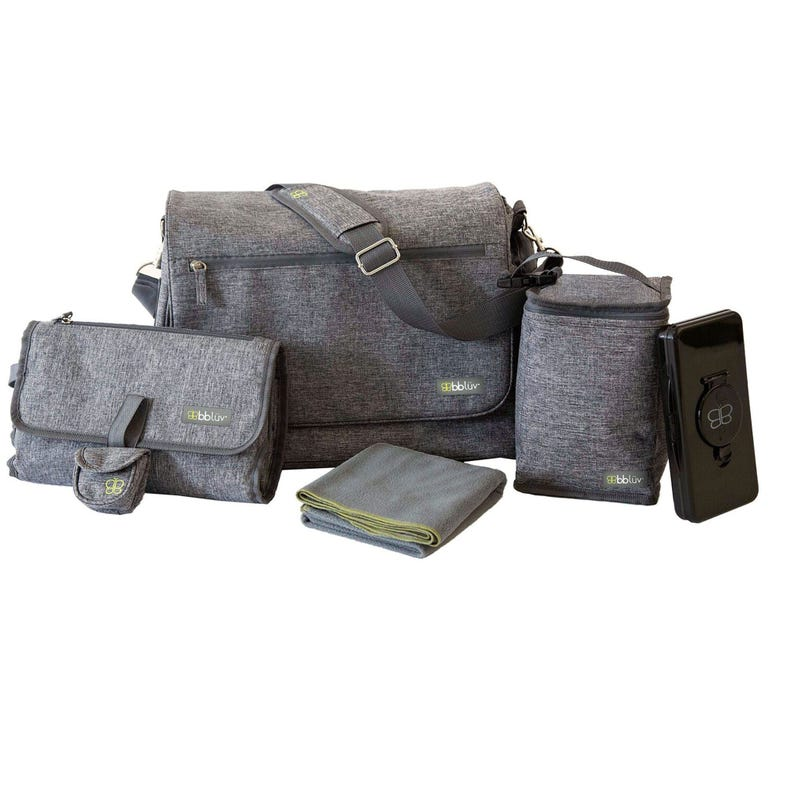 5 Pieces Diaper Bag - Heather Gray
