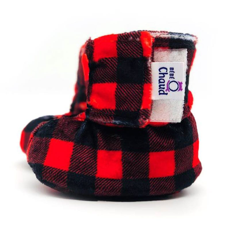 Velcro Slippers 0-6m - Red/Black Plaid