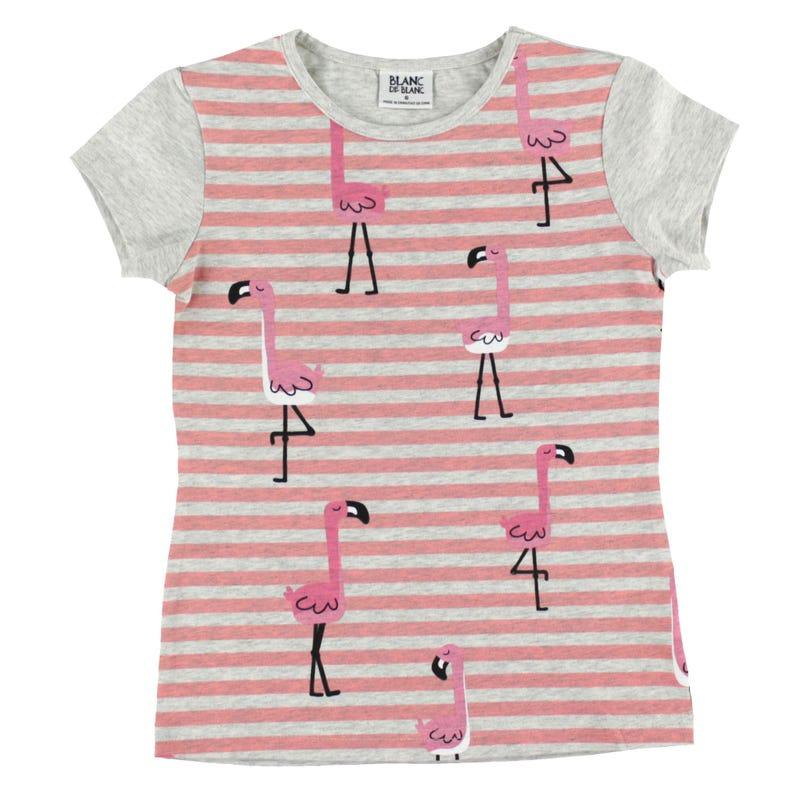 T-Shirt Rayé Flamant 2-8ans