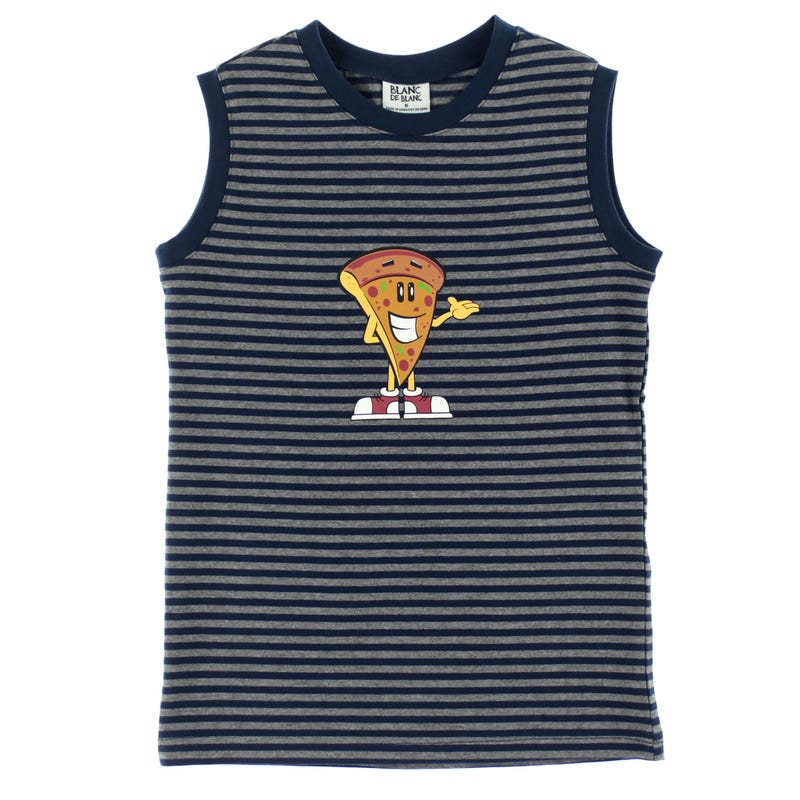 Pizza Striped Tank Top 2-8y