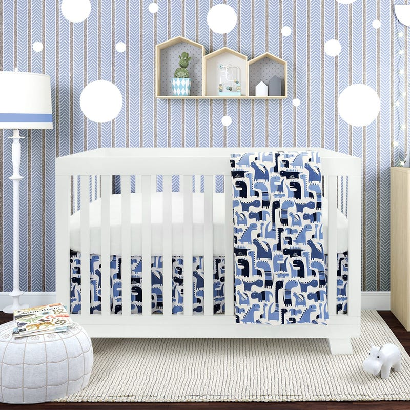4 Pieces Crib Set - Blue Dinosaure