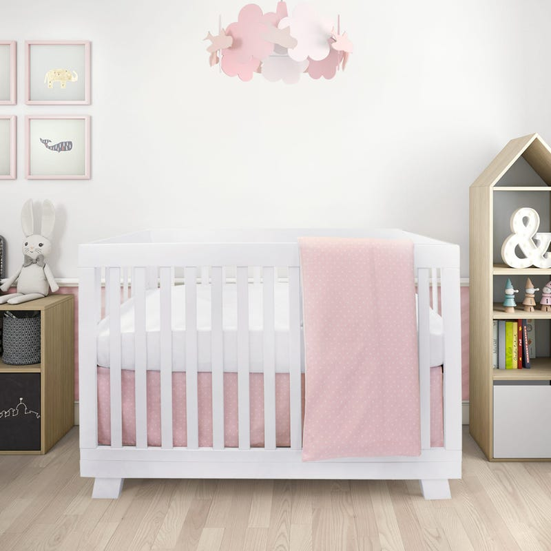 Stars 4 Pieces Crib Set - Pink