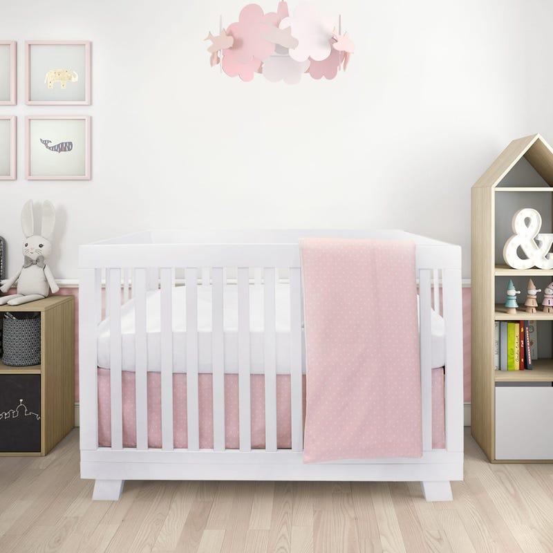 Stars 4 Pieces Crib Set - Pink