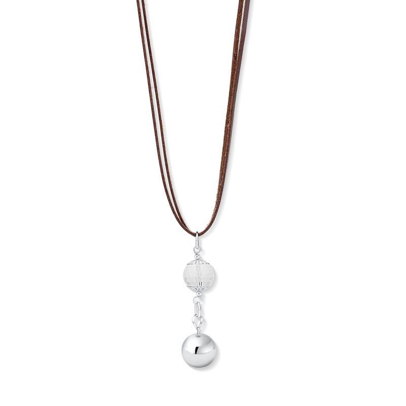 Pregnancy Jewelry Bola - Leather / Swarovski Crystal