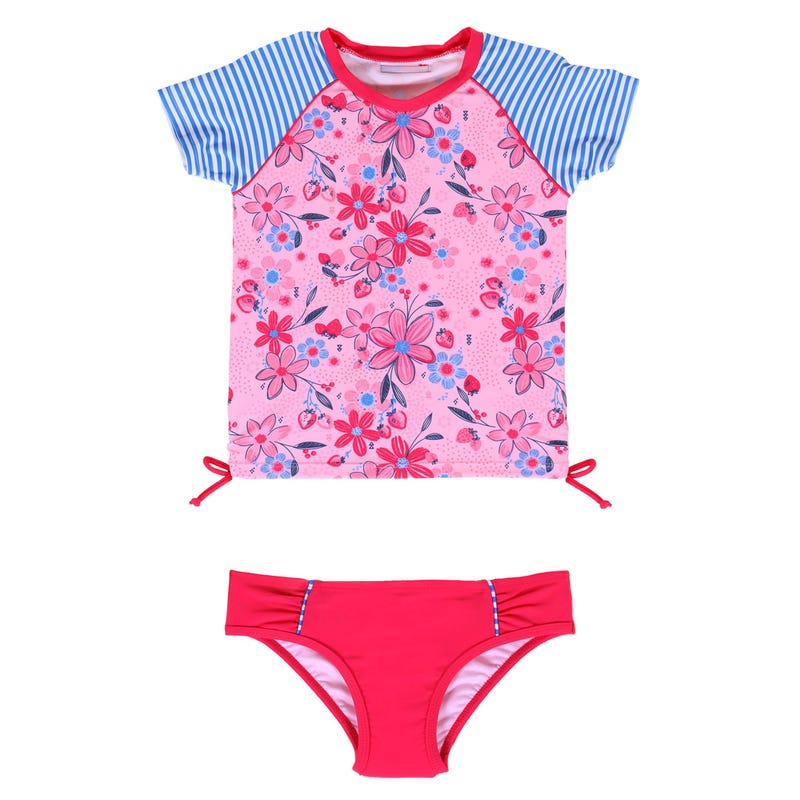 Strawberry 2 Pieces Rashguard Swimsuit 2-6y