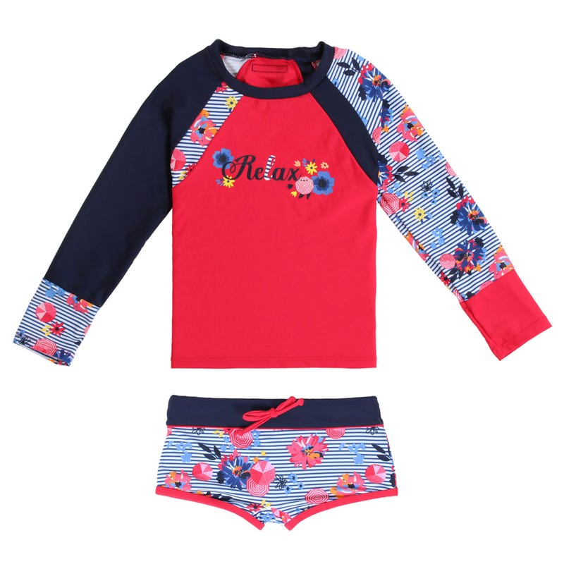 Nautical 2 Pieces Rashguard Swimsuit 4-6y