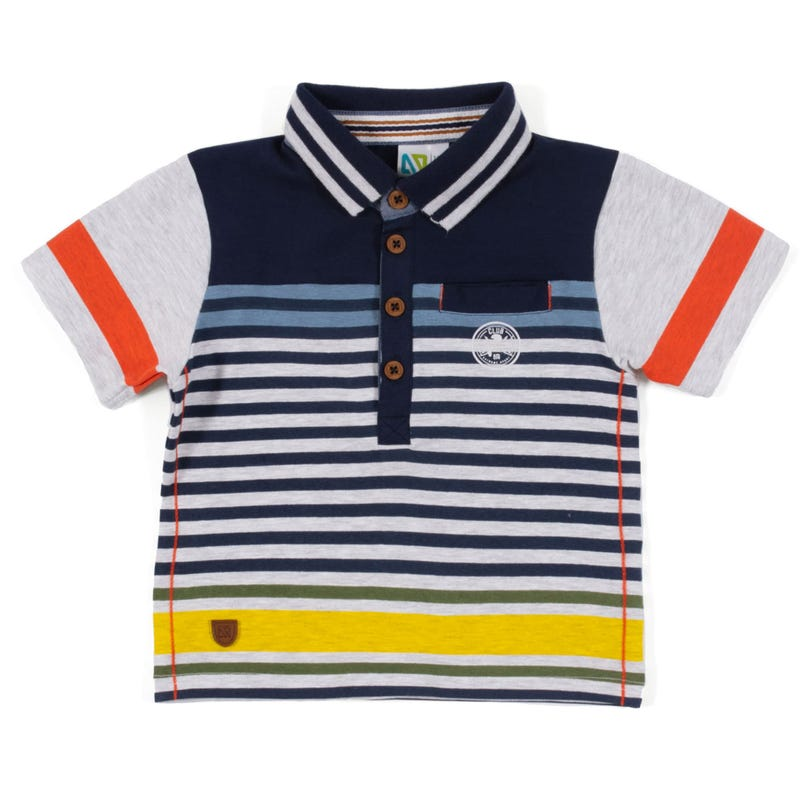 Green Team Striped Polo 3-24m