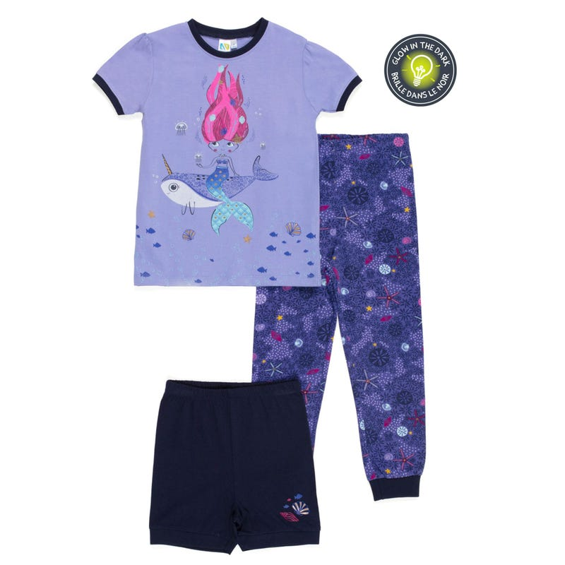Mermaid 3pcs Pajamas 2-6