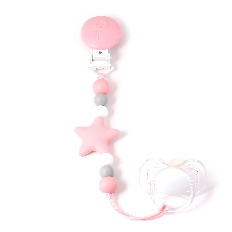 Nano Star Pacifier Clip - Pink/Blue/Gray