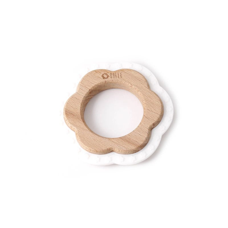 Flower Rattle Teething Toy - White