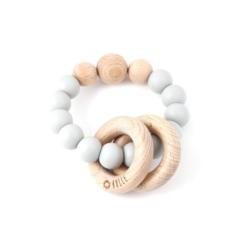 Clic-Clac Wood Rattle - Gray