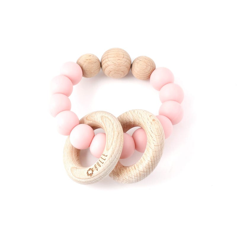 Clic-Clac Wood Rattle - Pink