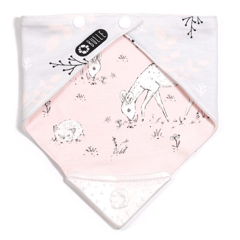 Teething Bib - Deer Pink