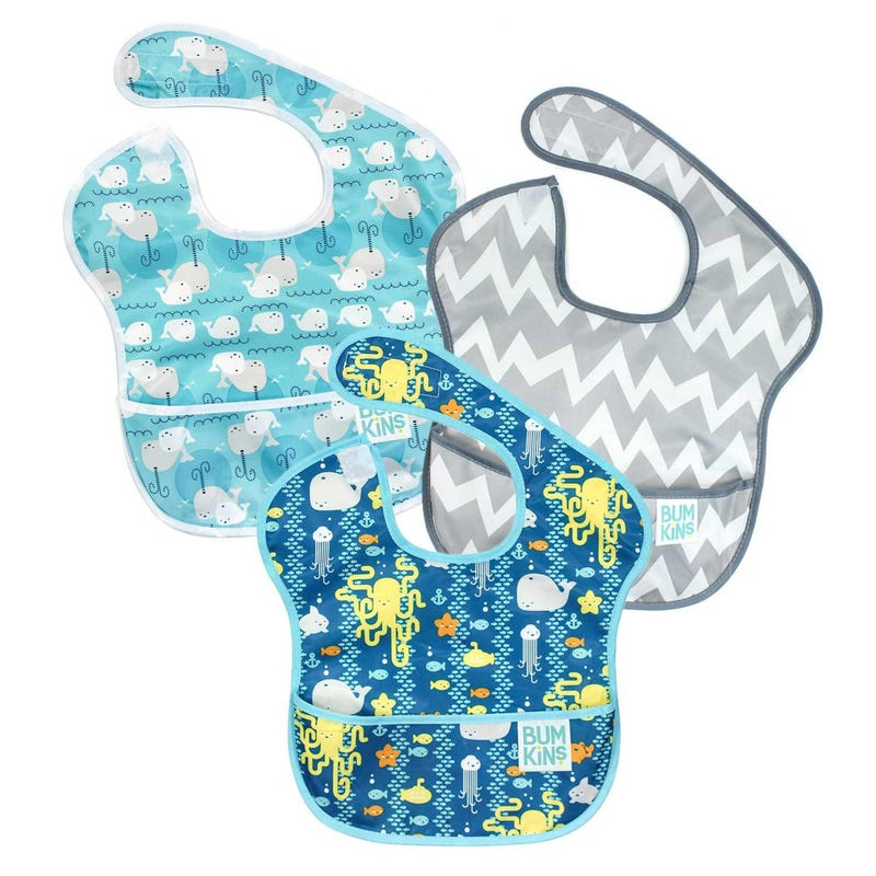 SuperBib 3 Pack 6-24months - Sea Friends /Gray Chevron / Whales Away