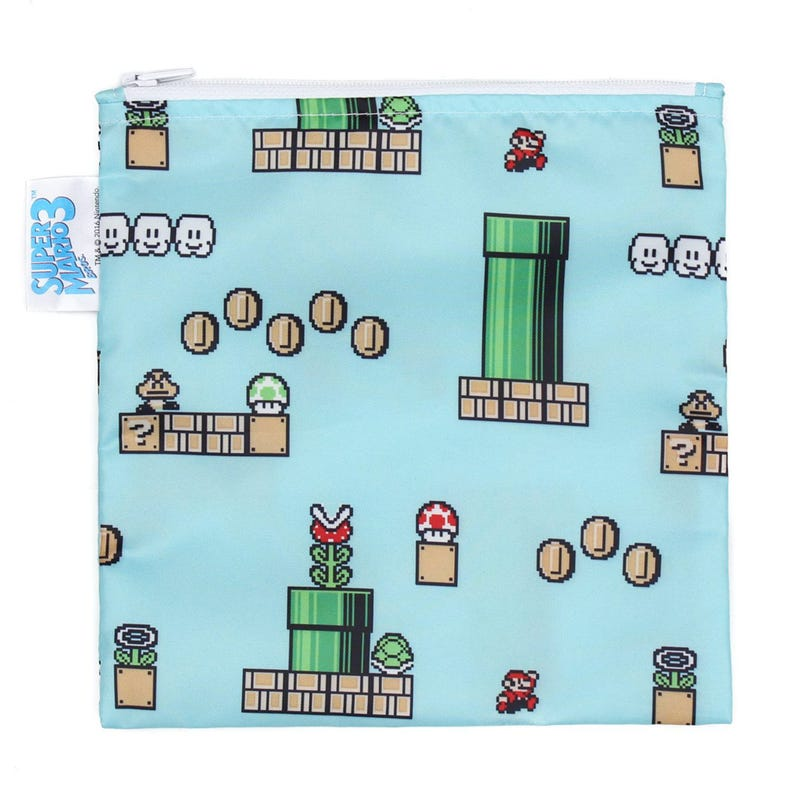 Large Reusable Snack Bag - Super Mario 8-bit Game