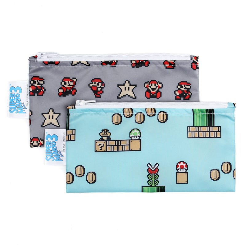 Small Reusable Snack Bag 2 Pack - Super Mario 8-bit