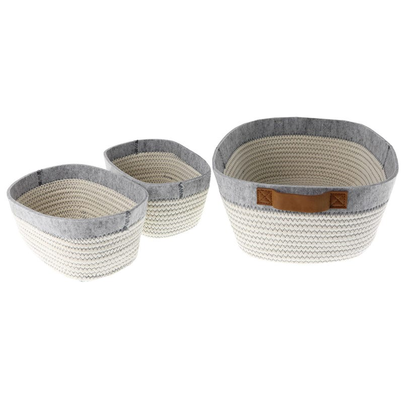 Baskets Kit 3-Pack - White/Grey