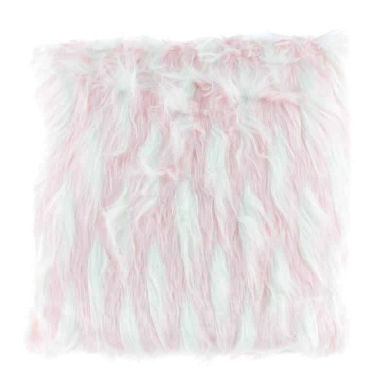 Fur Cushion - Pink/White