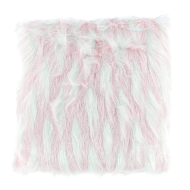Fur Cushion - Pink/White