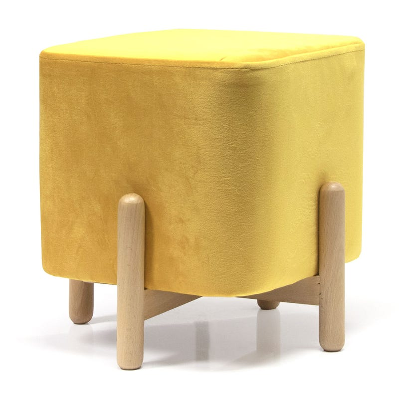 Velvet Stool - Yellow