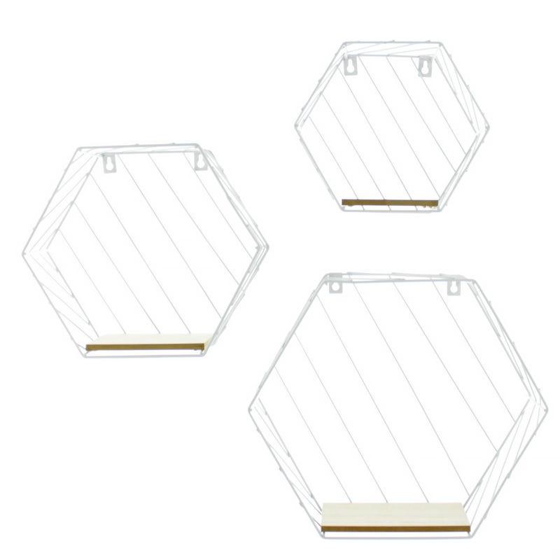 Ensemble de 3 Étagères Hexagone - Blanc / Or