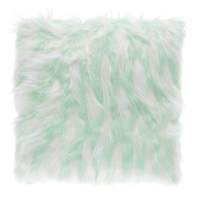 Fur Cushion - Blue/White
