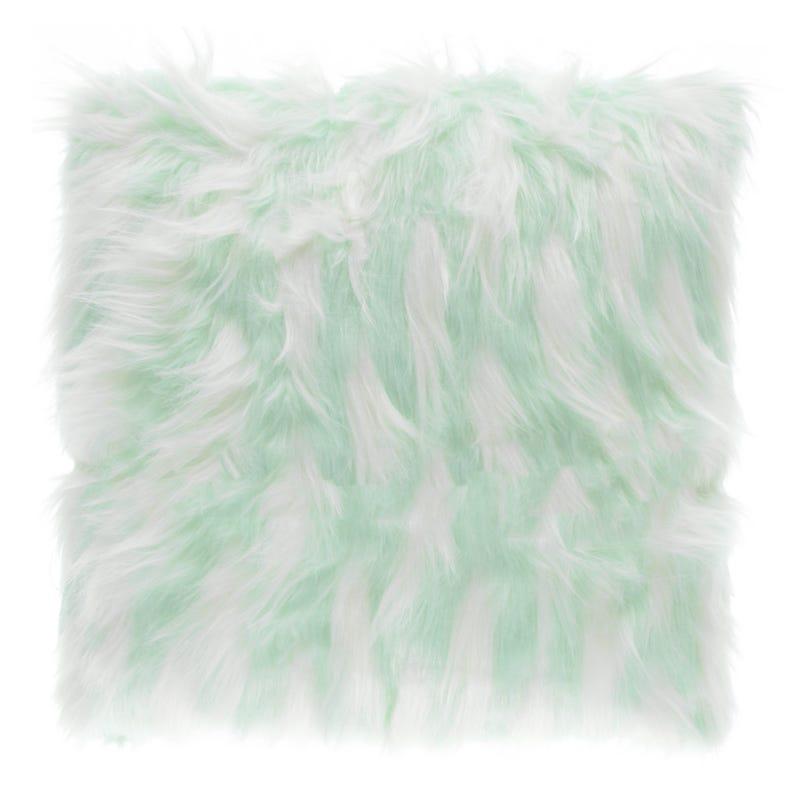 Fur Cushion - Blue/White