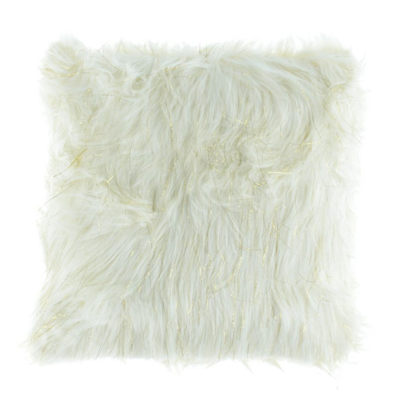 Fur Cushion - White/Gold