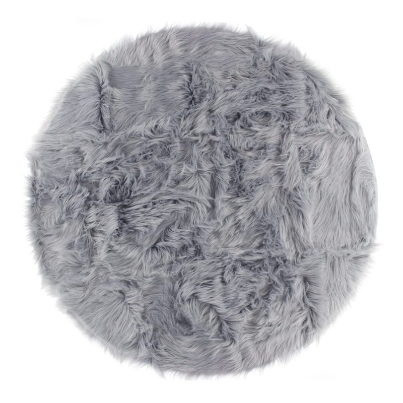 Fur Round Rug - Grey