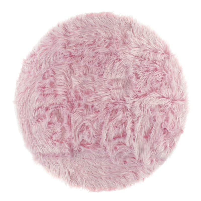 Fur Round Rug - Pink