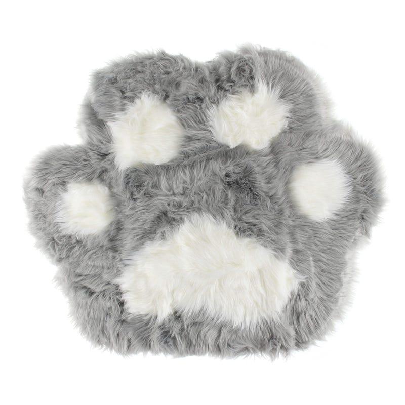 Fur Bear Paw Rug - Grey