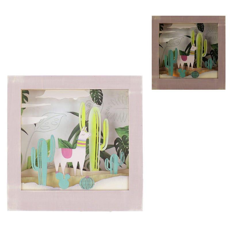 Cadre 3D LED Lama et Cactus - Rose