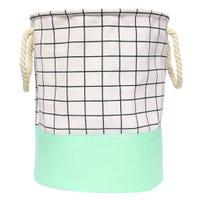 Plaid Laundry Basket -Green