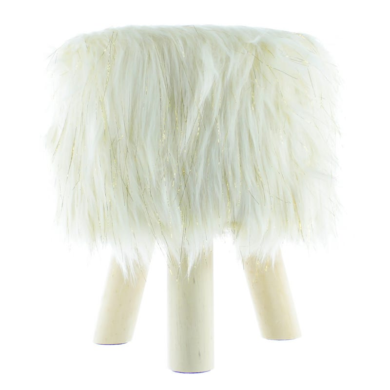 Fur Standing Stool - White/Gold