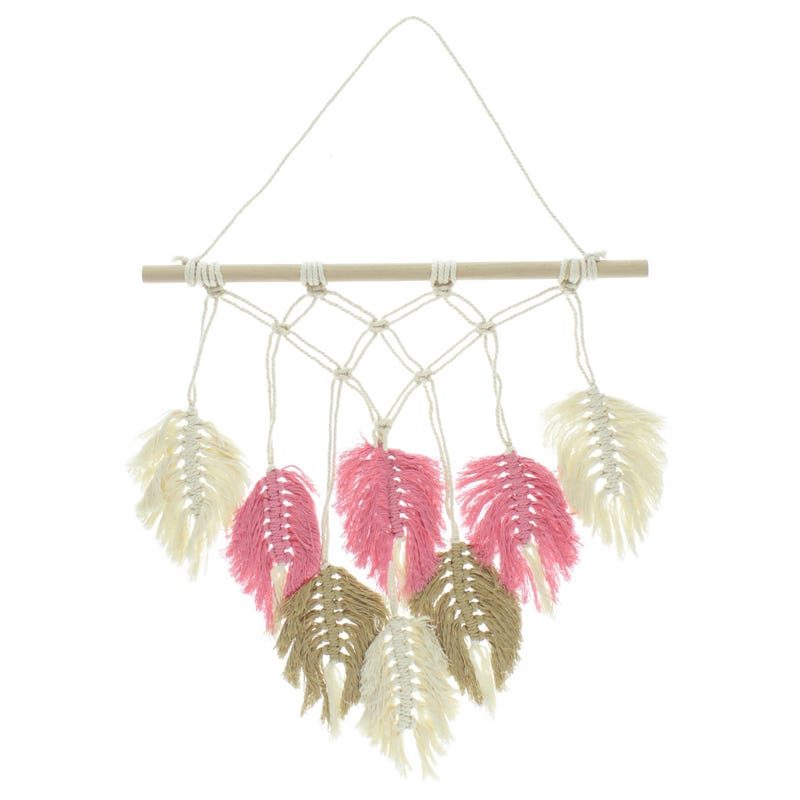 Wall Macrame Feather Pink