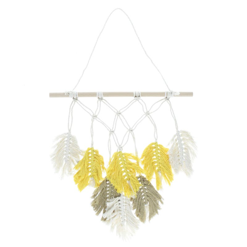 Wall Macrame Feather Yellow