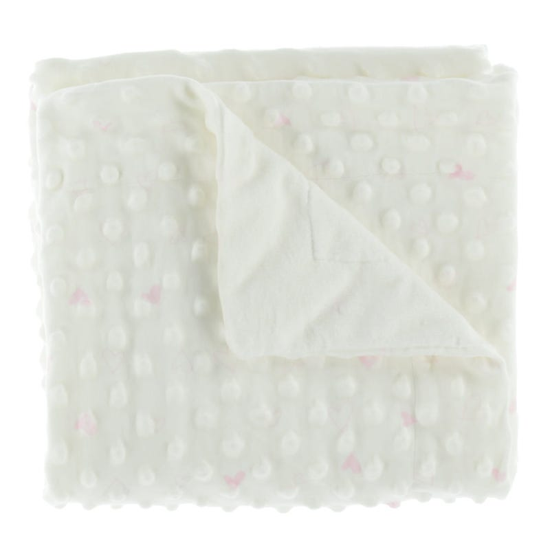 Couverture Blanche Coeurs Rose