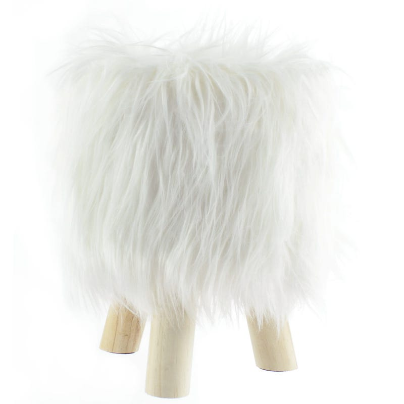 Fur Standing Stool - White