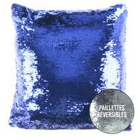 Coussin en Paillettes - Argent et Bleu