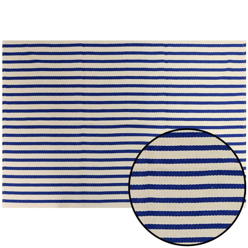 Striped Decorative Rug - Blue
