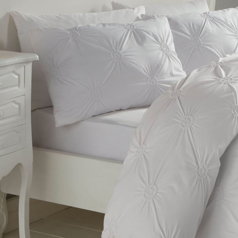 Floral Twin Duvet Cover Set - White