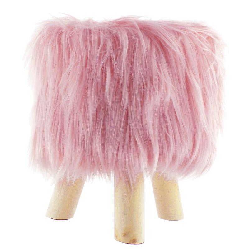 Standing Stool - Pink Fur