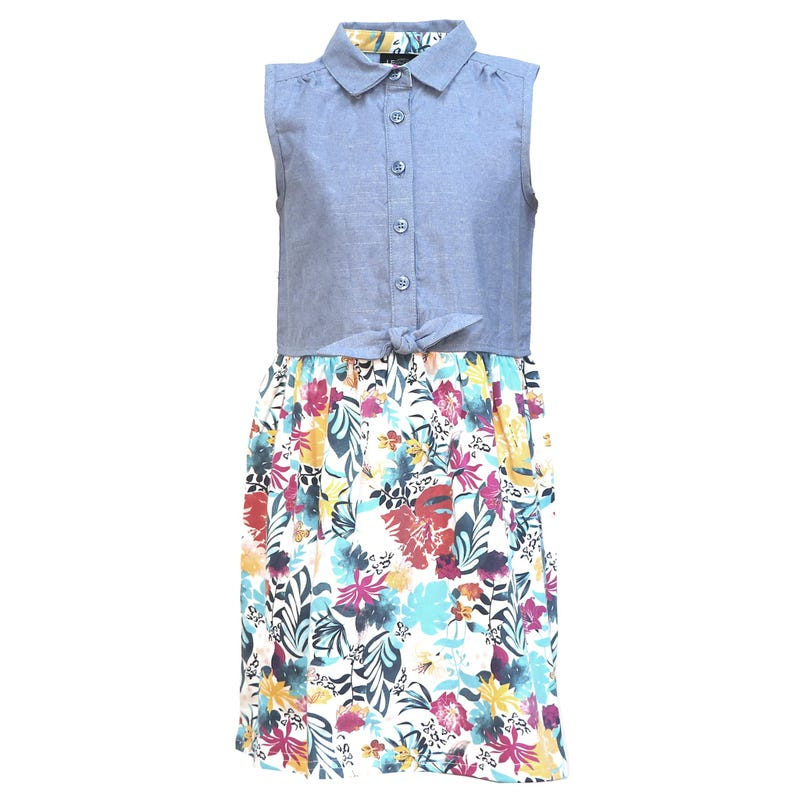Vacation Flower Knot Dress 2-8