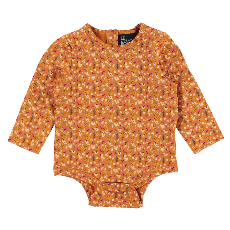 T-Shirt Une Pièce Fleurs Chaton 3-24mois